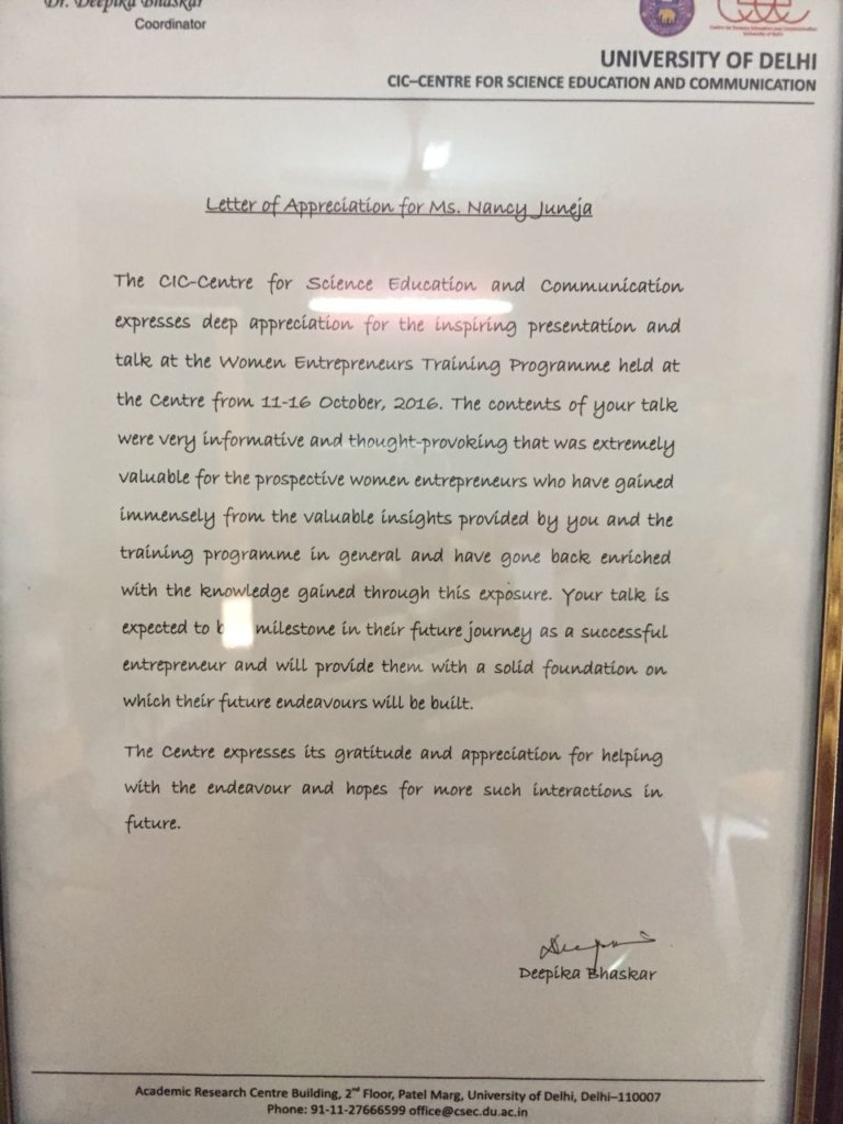 Letter of appreciation for Ms.Nancy Juneja, Delhi University, Nancy Juneja
